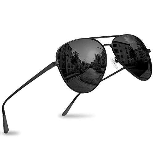 Polarized Aviator Sunglasses for Men Women, UV 400 Mirrored Lens, Military Style (Charcoal × Carbon Black)