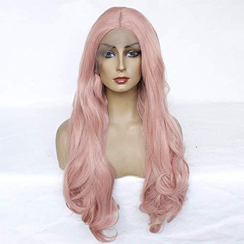 Hairpieces Rose Longs Bouclés Vague Perruque Lace Front Wig Naturel Soyeux Résistant À La Chaleur Fibre Synthétique Cheveux pour Dames Daily Cosplay Anime Halloween Party 16in