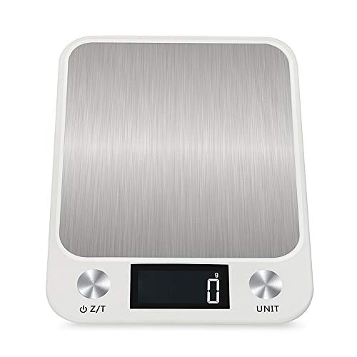 Voigoo LCD Display 10kg/1g Multi-function Digital Food Kitchen Scale Stainless Steel Weighing Food Scale Cooking Tools Balance (Color : White)