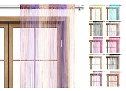wometo Fadenvorhang Türvorhang Fäden 90x245 cm Multi rosa lila braun - Stangendurchzug OekoTex kürzbar waschbar Uni einfarbig in vielen bunten Farben