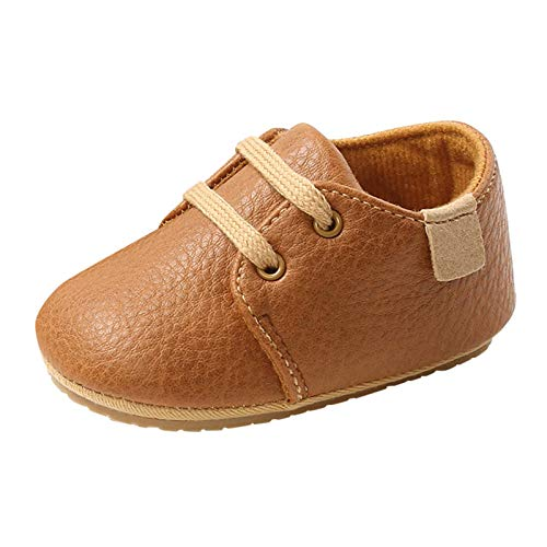 OutTop Infant Baby Shoes Mocassins with Soft Fleece Lined Non-Skid Soft Sole Newborn Warm Crib Shoes for Boys Girls (Brown, 0-3Months)