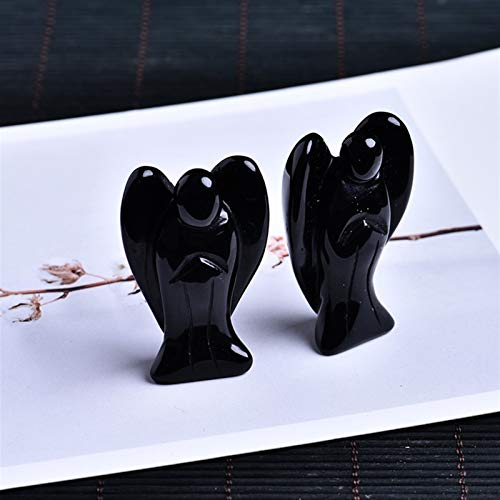 HSIOVE Natural crystal guardian angel amethyst protein gemstone family home decoration study room decoration DIY gift (Color : Obsidian angel, Size : 50x30x18mm)