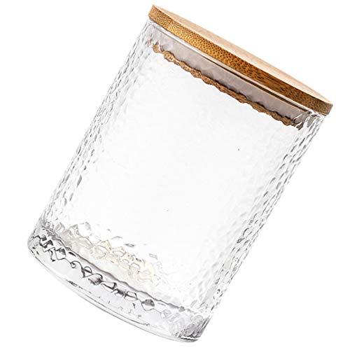 YARNOW Tarro de Cristal con Tapa Hermética de Madera Botes de Cristal de Cocina Ideal para Harina Azúcar Café Caramelo Snack Tamaño L