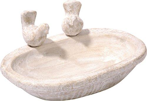 dobar 12974 Helle Terrakotta-Vogeltränke mit Zwei Deko-Vögeln, ovales Vogelbecken aus Keramik für Wildvögel, weißgrau