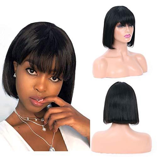 Sky Hair Brazilian Bob Wig Human Hair(8inch) Short Bob Wig with Bangs None Lace Front Straight Wigs Machine Made Bob Wigs for Black Women 130% Density