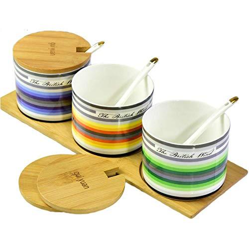 Spice kruiden voor het koken fles verdeelkast, kruiden in potten keramische bone china kleur kruid ronde doos drie delen zout,Living Colour