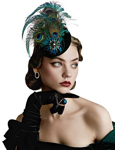 BABEYOND Pfau Feder Fascinators Hut Damen 1920s Stirnband Elegant Fascinator Haarreif Cocktail Tee Party Damen Greaty Gatsby Fasching Kostüm Accessoires (Stil 5)