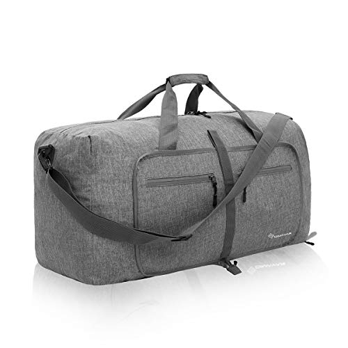 Duffel Bag 60L Packable Duffle Bag with Shoes Compartment Unisex Grey Travel Bag Water-Resistant Duffle Bag