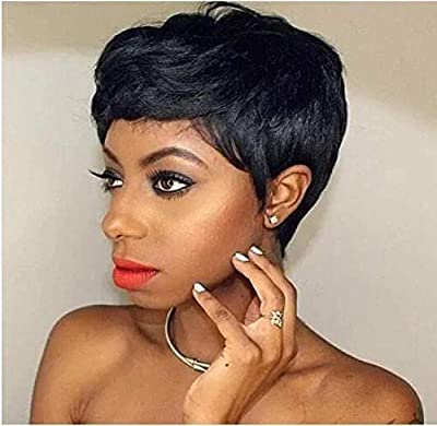 Pobokix Human Hair Pixie Cut Wigs Short Wigs with Bangs 150% Density Virgin Brazilian hair Short Layered Wavy Wigs for Black Women