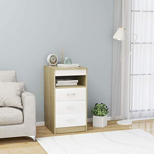 Tidyard Cajonera con 3 Cajones y 1 Estante de Aglomerado Cajonera Almacenaje Color Blanco y Roble Sonoma 40x50x76 cm