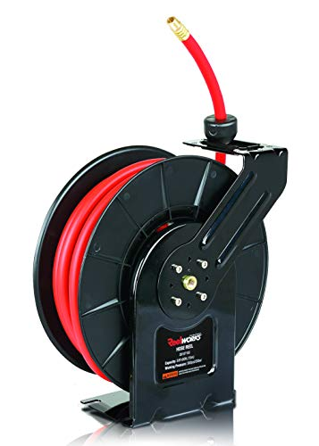 "REELWORKS Air-Hose-Reel Retractable 3/8"" Inch x 50' Feet Long Premium Commercial Flex Hybrid Polymer Hose Max 300 PSI Compressor Polypropylene Drum Construction Heavy Duty Industrial Spring"