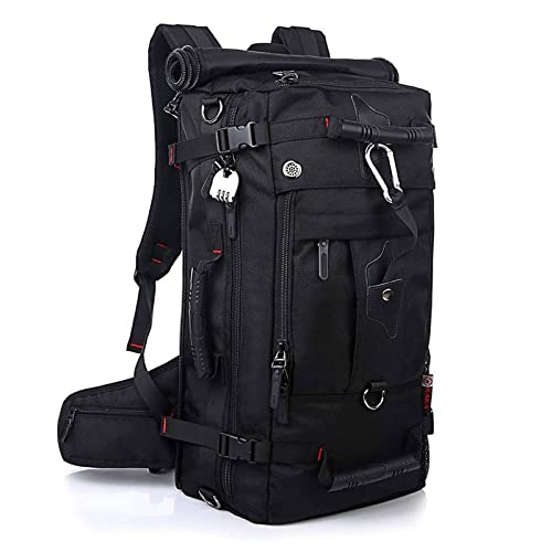 Pulchram Zaino Trekking 55 Litri Grande capacità Impermeabile Shockproof Ultra Resistente Zaino da Arrampicata Campeggio Backpack Oxford con Copertura della Pioggia Sicurezza Blocco Nero