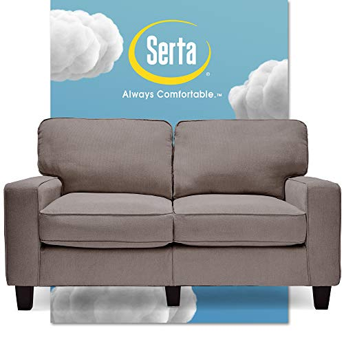 Serta Palisades Upholstered Sofas for Living Room Modern Design Couch, Straight Arms, Soft Fabric Upholstery, Tool-Free Assembly, 61' Loveseat, Glacial Gray