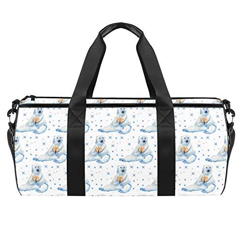 LAZEN Hombro Handy Sports Gym Bags Travel Duffle Totes Bag para hombres mujeres lindo oso polar azul