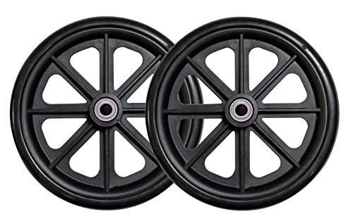 Tuffcare Caster Wheel, Hard Rubber Tire, 8' x 1'- 2 3/8' Hub Width; Fits Most Sunrise, Medline, Drive, Invacare, E&J, Guardian, ALCO & Other Manual Wheelchairs (Black, 7/16' Axle, Wide Hub) One Pair