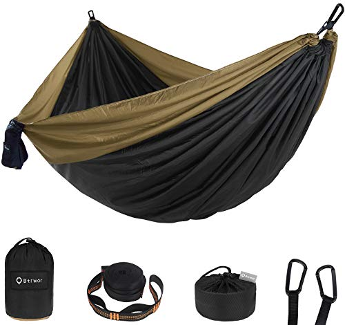 Btrwor Portable Hammock Camping Double & Single with 2 Tree Straps,Lightweight Breathable Parachute Nylon Travel Hammocks 300kg Load Capacity , for Outdoor Backpacking Hiking Indoor Garde