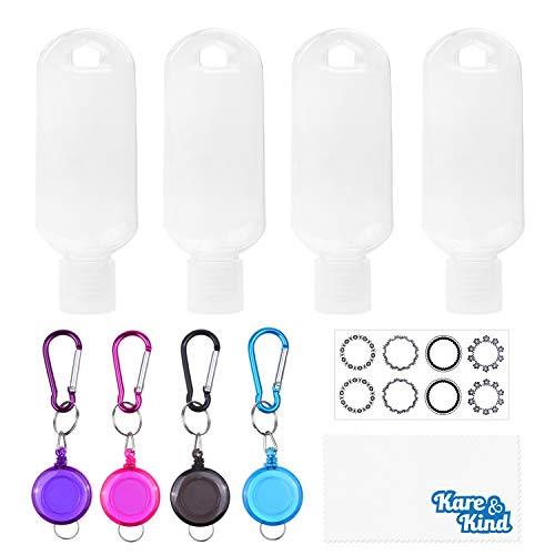 Kare & Kind Clear Tragbare Reiseflaschen - 4X Leere Behälter, 4X Karabiner/Lanyard, 1x Aufkleber-Etikettenblätter - bis zu 50 ML - Für Handdesinfektionsmittel, Reinigungsalkohol, Flüssigkeiten
