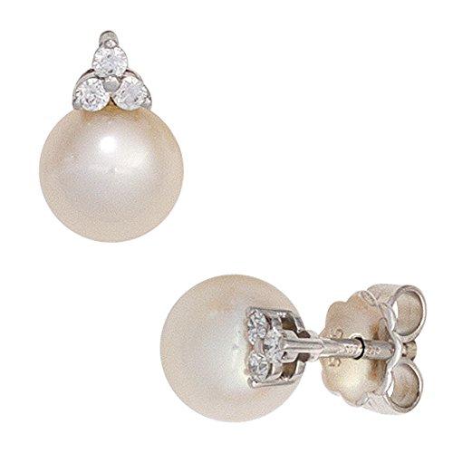 JOBO Ohrstecker 585 Gold Weißgold 2 Süßwasser Perlen 6 Diamanten Brillanten Ohrringe