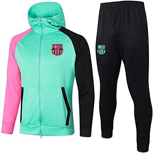 KMILE Bǎrcělǒnǎ Fútbol Oficial de fútbol fútbol Camiseta con Capucha y Pantalones de fútbol y Pantalones para Correr la Parte Superior y pantalón Traje de Traje Largo, Verde Claro