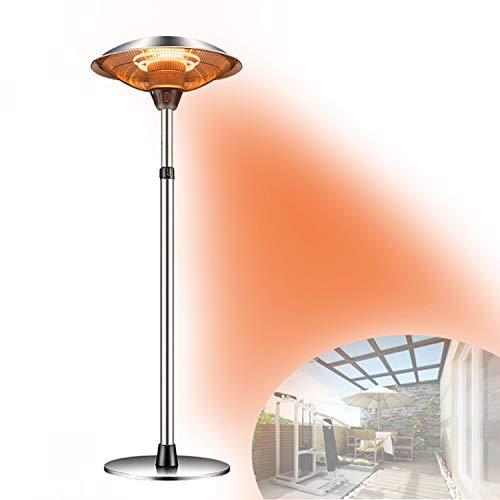 QJJML Calentador De Patio, Calentadores De Jardín Eléctricos para Exteriores con 3 Configuraciones De Calefacción, Cabeza Ajustable De 1,6 a 2,1 M De Altura, Ip44 a Prueba De Agua,3000W