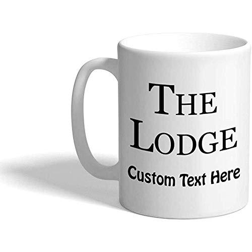 Taza de café personalizada 330 ml The Lodge Camping Architecture Taza de té de cerámica Texto personalizado
