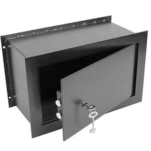 PrimeMatik - Caja Fuerte de Seguridad empotrada de Acero con Llaves 26x15x18cm Negra