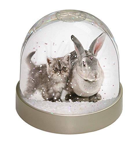 Advanta Schneekugel mit Katze und Kaninchen, Silbergrau, 9,2 x 9,2 x 8 cm