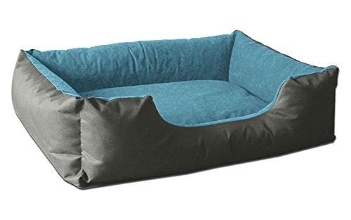 BedDog® Hundebett LUPI, Hundesofa aus Cordura, Microfaser-Velours, waschbares Hundebett mit Rand, Hundekissen Vier-eckig, für drinnen, draußen, XL, Blue-Rock, grau-blau