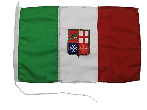 Glac Store® Bandiera Tricolore Italiana Italia Marina Mercantile 20 x 30 cm e Storia dei Simboli della Bandiera Marina Militare Navale in Tessuto Nautico Resistente Antivento