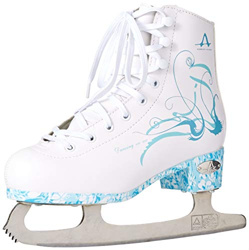 American Athletic Shoe Women's Sumilon Lined Figure Skates with Turquoise Outsole, White, 6 (53206)