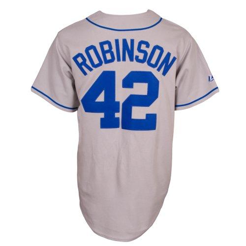 Majestic MLB Jackie Robinson Brooklyn Dodgers Trikot Replik Jersey, Herren, grau, M