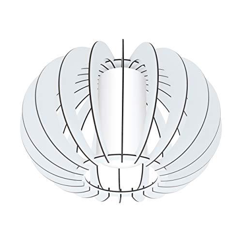 EGLO Deckenlampe Stellato 2, 1 flammige Deckenleuchte Vintage, Wohnzimmerlampe aus Stahl, Holz und Glas in weiß, Küchenlampe, Flurlampe Decke mit E27 Fassung