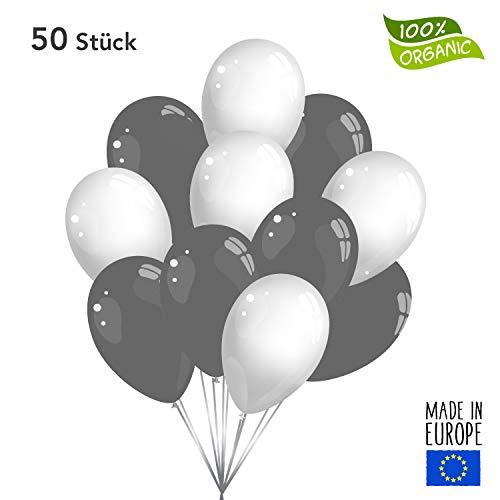 Twist4 50 Premium Luftballons in Grau / Weiß - Made in EU - 100% Naturlatex somit 100% giftfrei und 100% biologisch abbaubar - Geburtstag Party Hochzeit - für Helium geeignet