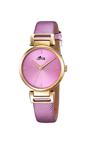 Lotus 18228/2 - Reloj de Mujer (Cuarzo, analógico, Correa de Cuero), Color Morado