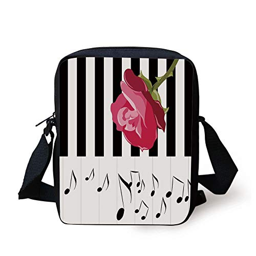 Modern,Hand Drawn Red Rose on Piano with Musical Notes Romantic Instrumental Art,Scarlet Black White Print Kids Crossbody Messenger Bag Purse