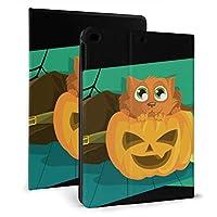 IPad ケース ねこ かぼちゃ ハロウィン フリップカバー タブレット保護ケース 耐衝撃 ホルスター 保護シェル 自動ウェイクアップ/オートスリープ