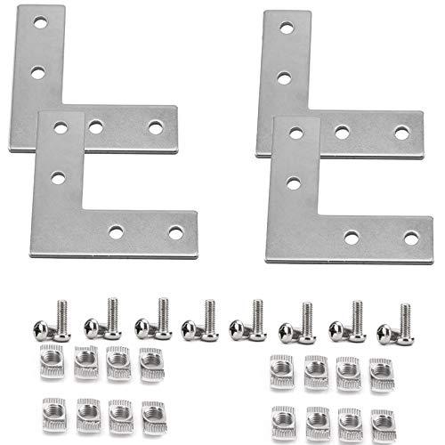 4040 Series/L Shape Steel Profile Connector Bracket Set,4Pcs L Shape Connector with 16pcs T-Slot Nuts, 16pcs M8x20mm Hex Socket Cap Screw,for 4040 Series Aluminum Profile