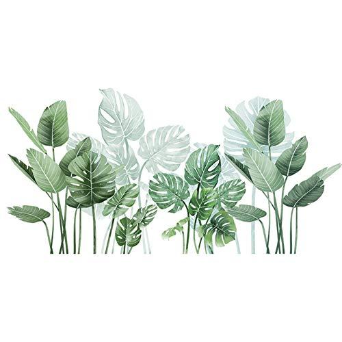 Sytaun Adesivo Murale Fai da Te, Foglie di Monstera Adesivo Murale Rimovibile Adesivo Murale Fai da Te Adesivo per Sfondo Soggiorno Verde