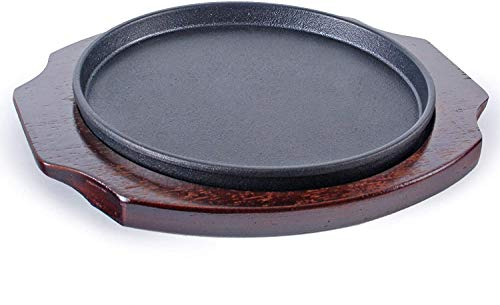 Happy Sales HSGRD-RND95, Large Cast Iron Steak Plate Sizzle Griddle with Wooden Base Steak Pan Grill Fajita Server Plate Household use or Restaurant Supply, 9.5' Diameter
