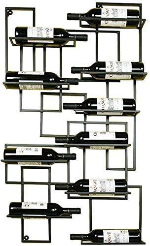 KFDQ Rústico Botellero Montado en la Pared Estante Del Vino Del Estante Del Vino Del Metal Retro de Hierro 10 Estante Del Vino Estante de la Botella Bar Estante Colgante de Almacenamiento para Res