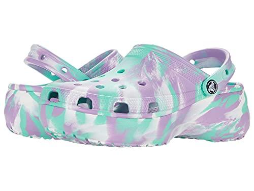 Crocs Zuecos clásicos de mármol para mujer verde/púrpura, color Verde, talla 34.5 EU