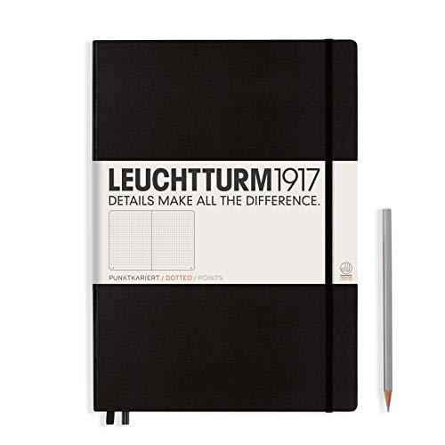 LEUCHTTURM1917 327366 Notizbuch Master Classic (A4+), Hardcover, 233 nummerierte Seiten, Schwarz, dotted