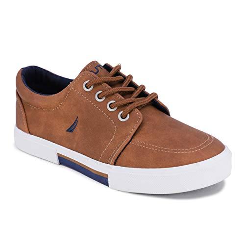 Nautica Kid's Lace Up Casual Shoe Athletic Sneaker - Berrian Big Kid Little Kid-Berrian Youth-Tan Pu-1