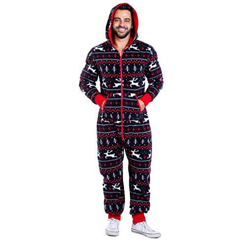 Baijiaye Mens Womens Christmas Printed Piece Pyjamas Fleece Cosy Hooded Non-Footed Onesie Jumpsuit Nightwear with Pockets Navy Reindeer