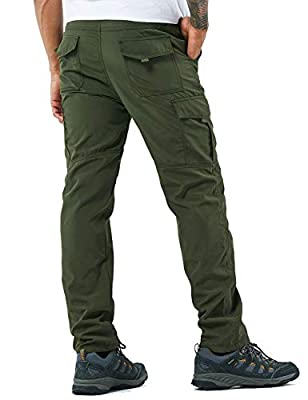Men's Outdoor Hiking Pants Lightweight and Thick Fleece Cargo Climbing Camping Ski Trousers (105 Thin Green, M)