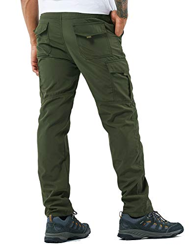 Men's Outdoor Hiking Pants Lightweight and Thick Fleece Cargo Climbing Camping Ski Trousers (105 Thin Green, L)
