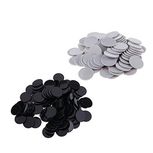 SM SunniMix 200 Piezas de Fichas de Póquer de Plástico para Casino, Marcadores de Bingo, Color Gris + Negro