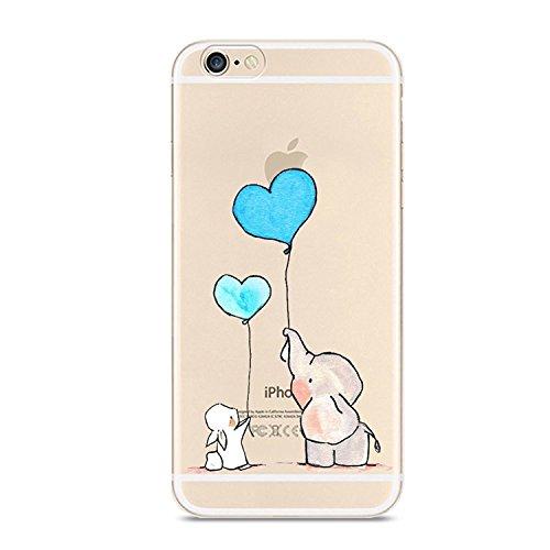 Cover iPhone 6S, Cover iPhone 6, Custodia Morbido Trasparente Silicone con Disegni TPU Bumper con Protettiva Trasparenti Posteriore per iPhone 6 / iPhone 6S (Coniglio e Orso)