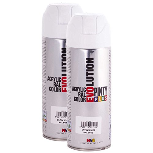 Pintyplus Evolution Spray Paint - Satin Pure White - RAL 9010 - 11oz Cans Pack of 2 - Fast Dry, Acrylic Spray Paint for Metal, Wood, Stone, Cardboard and Paper