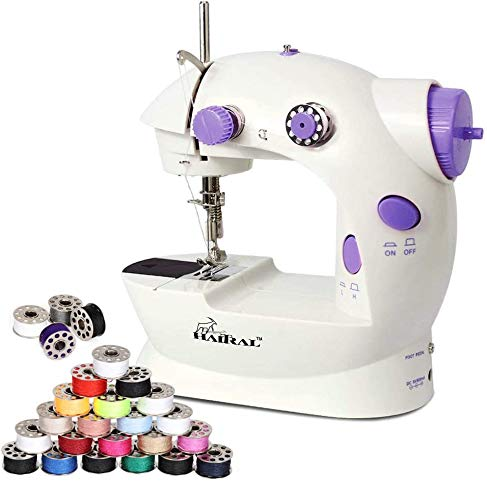 Portable Sewing Machine Adjustable 2 Speed Electric Crafting Mending Machine with Foot Pedal, Mini Sewing Machine with 25 PCS Bobbins